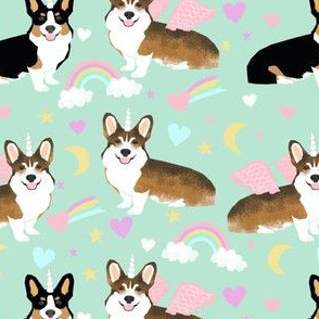 Sable and Tricolored corgi unicorns cute dogs and rainbows fabric