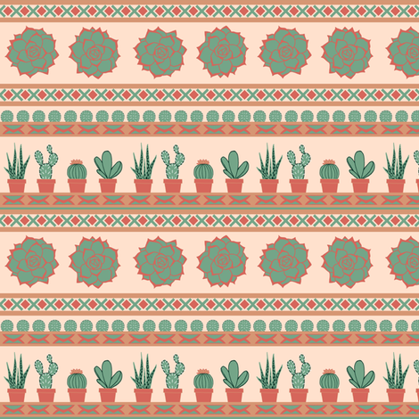 Succulent Stripes fabric by sarah_coombs on Spoonflower - custom fabric