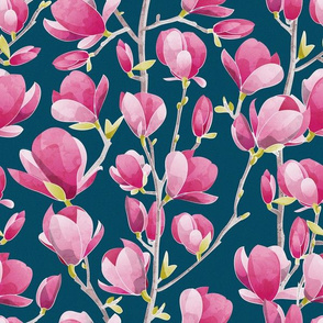 Magnolia Spring Bloom 1 // navy background