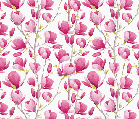 Magnolia Spring Bloom 2 // white bacground fabric by selmacardoso on Spoonflower - custom fabric