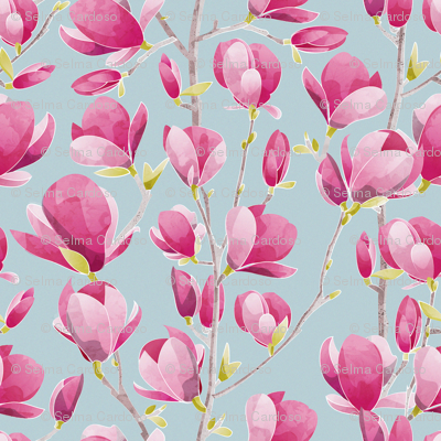 Magnolia Spring Bloom 3 // blue background