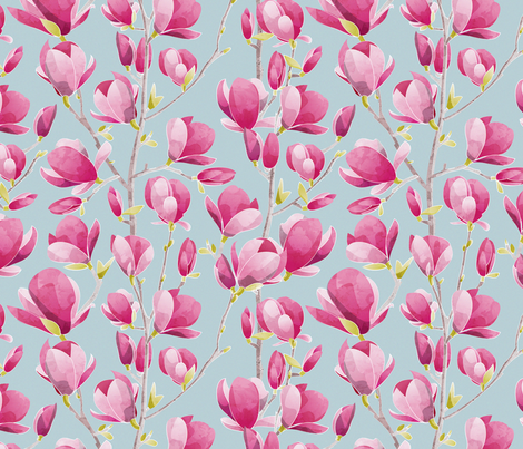 Magnolia Spring Bloom 3 // blue background fabric by selmacardoso on Spoonflower - custom fabric