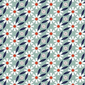 Daisy Chain* (Camouflage) || flower flowers floral leaves nature garden trellis stars 70s retro stripes spring summer