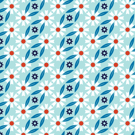 Daisy Chain* (Polymer) || flower flowers floral leaves nature garden trellis stars 70s retro stripes spring summer patriotic fabric by pennycandy on Spoonflower - custom fabric