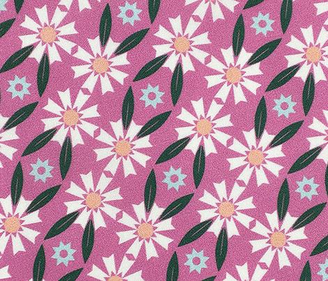 Daisy Chain* (Pink Liza)    flower flowers floral leaves nature garden trellis stars 70s retro stripes spring summer