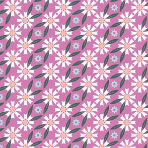 Daisy Chain* (Pink Liza) || flower flowers floral leaves nature garden trellis stars 70s retro stripes spring summer