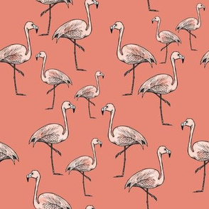 Peachy Pink Flamingos on Darker Peach Background - Smaller Size