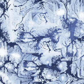 Abstract Paint Swirls Indigo Blue