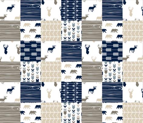 Rustic Woods Patchwork Wholecloth  - Woodgrain w/bears fabric by littlearrowdesign on Spoonflower - custom fabric