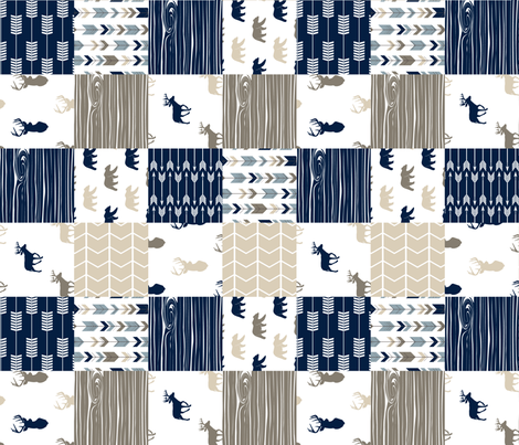 Rustic Woods Patchwork Wholecloth (90) - Woodgrain w/bears fabric by littlearrowdesign on Spoonflower - custom fabric