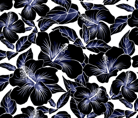 Hibiscus Batik Black on White 200 fabric by kadyson on Spoonflower - custom fabric