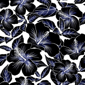 Hibiscus Batik Black on White 200
