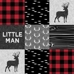 little man - red and black deer (buck) quilt woodland