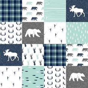 woodland moose bear fishing patchwork fabric