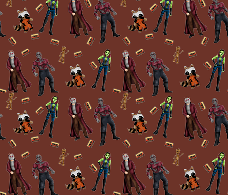 Misfit Space Guards on Brown fabric by costumewrangler on Spoonflower - custom fabric