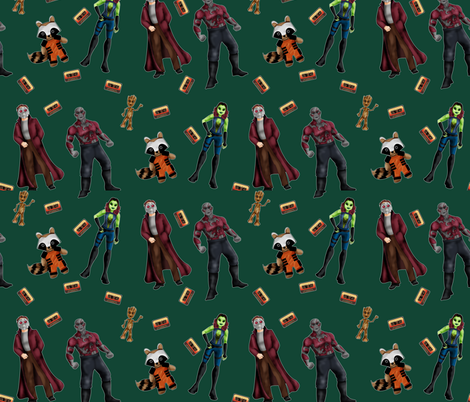 Misfit Space Guards on Green fabric by costumewrangler on Spoonflower - custom fabric
