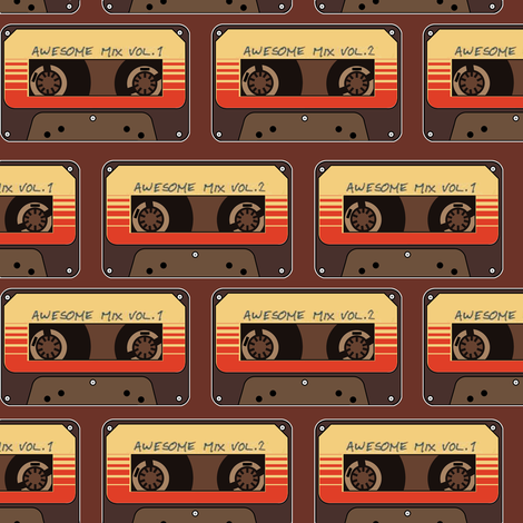 Mix Tape Brown Large Print fabric by costumewrangler on Spoonflower - custom fabric