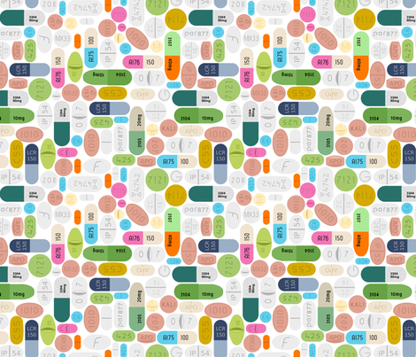 SSRI on white fabric by thirdhalfstudios on Spoonflower - custom fabric