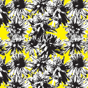 Paper Flowers - Graphic - Photography - Yellow - Black - White