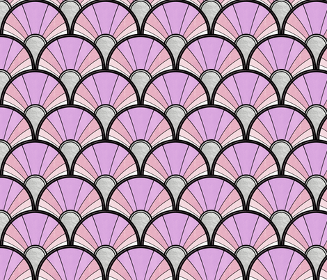 Pale Pink and Purple Art Deco Flow Fan fabric by suzzincolour on Spoonflower - custom fabric