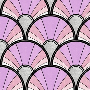 Pale Pink and Purple Art Deco Flow Fan