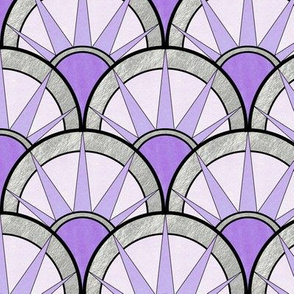 Pastel Purple and Silver Fancy Art Deco  Fan