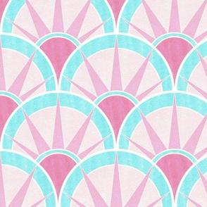 Pastel Pink and Blue Fancy Art Deco Fan