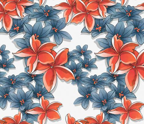 Plumeria garden 2 // white background orange blue flowers fabric by selmacardoso on Spoonflower - custom fabric