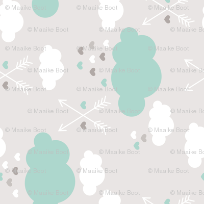 Sweet soft little indian baby dream sleepy night clouds love hearts and indian arrows scandinavian pastel illustration pattern in mint rotated flipped