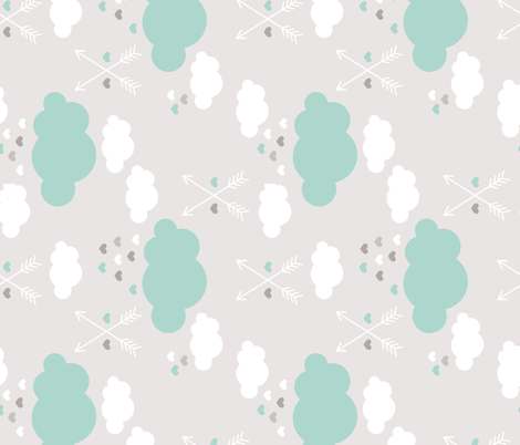 Sweet soft little indian baby dream sleepy night clouds love hearts and indian arrows scandinavian pastel illustration pattern in mint rotated flipped fabric by littlesmilemakers on Spoonflower - custom fabric