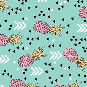 Tropical hawaiian aqua blue and pink pineapple summer fruit geometric arrow pattern print flipped rotated