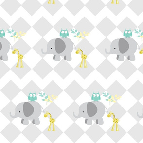 elephant owl diamonds gray-8  LARGE