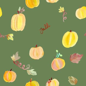 Fall Pumpkins in Green