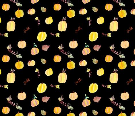 Fall Pumpkins on Black fabric by geekygamergirl on Spoonflower - custom fabric