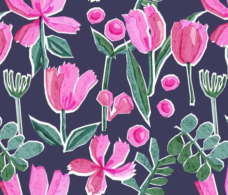 Paper Cut Florals fabric by pragya_k on Spoonflower - custom fabric