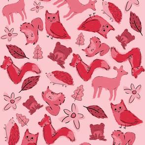 Woodland animals, pink