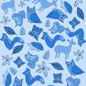 Woodland animals, Blue