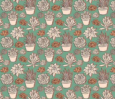 succulents fabric by savannah_storm on Spoonflower - custom fabric