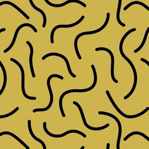 Curly waves and chromosomes pop art twist and curl abstract Scandinavian print mustard yellow