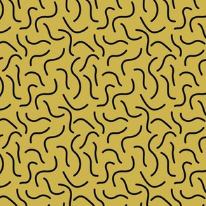 Curly waves and chromosomes pop art twist and curl abstract Scandinavian print mustard yellow  SMALL