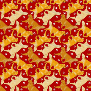 Trotting Golden Retrievers and paw prints - red