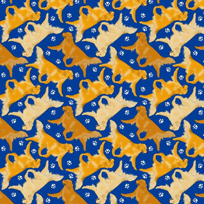 Trotting Golden Retrievers and paw prints - blue