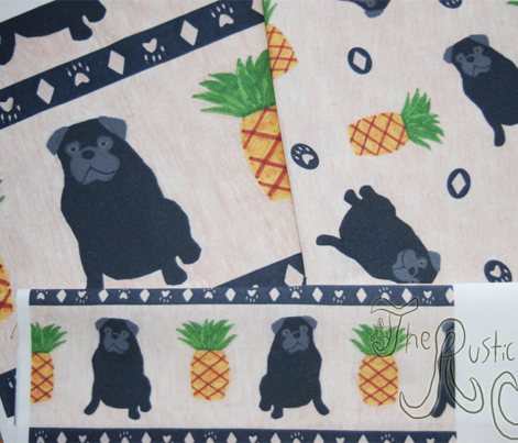 Primitive Pug and pineapple - small border black