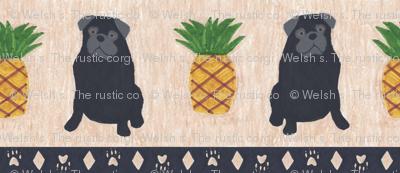 Primitive Pug and pineapple - small border black