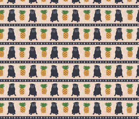 Primitive Pug and pineapple - small border black fabric by rusticcorgi on Spoonflower - custom fabric