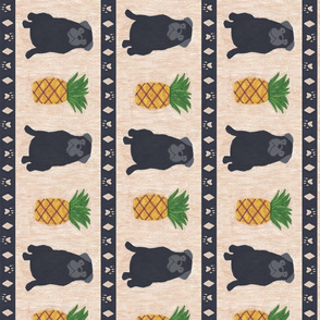 Primitive Pug and pineapple - large border length black