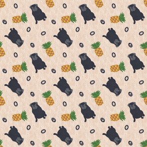 Primitive Pug and pineapple - ditsy black