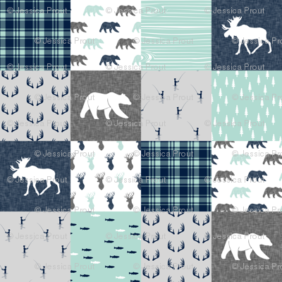 woodland moose bear fishing patchwork fabric w/ grey