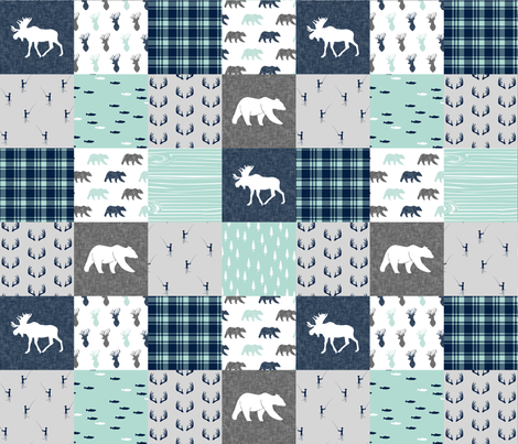 woodland moose bear fishing patchwork fabric w/ grey  fabric by littlearrowdesign on Spoonflower - custom fabric