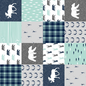 woodland moose bear fishing patchwork fabric w/ grey  (90)